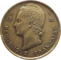 obverse of 25 Francs (1956) coin with KM# 7 from French West Africa. Inscription: REPUBLIQUE FRANÇAISE 1956 G.B.L. BAZOR