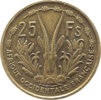 reverse of 25 Francs (1956) coin with KM# 7 from French West Africa. Inscription: AFRIQUE OCCIDENTALE FRANCAISE 25 FS