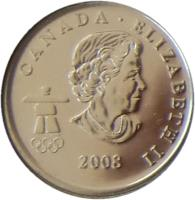 obverse of 25 Cents - Elizabeth II - Cross Country Skiing (2009) coin with KM# 840 from Canada. Inscription: CANADA · ELIZABETH II 2009