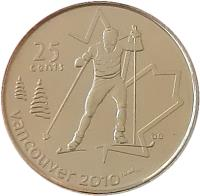 reverse of 25 Cents - Elizabeth II - Cross Country Skiing (2009) coin with KM# 840 from Canada. Inscription: 25 cents VANCOUVER 2010
