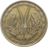 obverse of 25 Francs (1957) coin with KM# 9 from French West Africa. Inscription: 1957