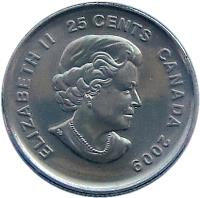 obverse of 25 Cents - Elizabeth II - Cindy Klassen (2009) coin with KM# 1065 from Canada. Inscription: ELIZABETH II 25 CENTS CANADA 2009