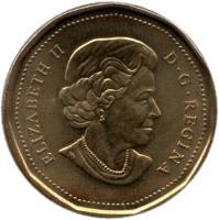 obverse of 1 Dollar - Elizabeth II - Royal Canadian Navy (2010) coin with KM# 1017 from Canada. Inscription: ELIZABETH II D · G · REGINA