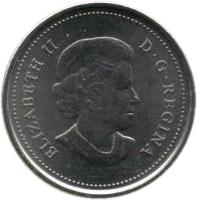 obverse of 25 Cents - Elizabeth II - Wood Bison - Colourized (2011) coin with KM# 1168a from Canada. Inscription: ELIZABETH II D. G. REGINA