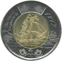 reverse of 2 Dollars - Elizabeth II - War of 1812: HMS Shannon (2012) coin with KM# 1258 from Canada. Inscription: The War of 1812 La guerre de 1812 HMS SHANNON