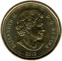 obverse of 1 Dollar - Elizabeth II - Summer Olympic Games London 2012 (2012 - 2014) coin with KM# 1256 from Canada. Inscription: ELIZABETH II D.G.REGINA 2012