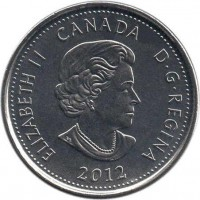 obverse of 25 Cents - Elizabeth II - War of 1812: Sir Isaac Brock - Colourized (2012) coin with KM# 1322a from Canada. Inscription: ELIZABETH II D · G · REGINA 2012