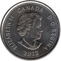 obverse of 25 Cents - Elizabeth II - War of 1812, Tecumseh - Colourized (2012) coin with KM# 1324a from Canada. Inscription: ELIZABETH II CANADA D · G · REGINA 2012