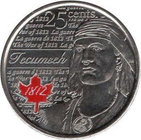 reverse of 25 Cents - Elizabeth II - War of 1812, Tecumseh - Colourized (2012) coin with KM# 1324a from Canada. Inscription: 25 cents Tecumseh 1812