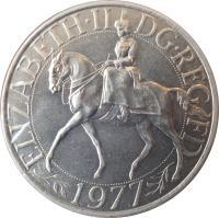 obverse of 25 New Pence - Elizabeth II - Silver Jubilee (1977 - 1981) coin with KM# 920 from United Kingdom. Inscription: ELIZABETH · II DG · REG FD 1977