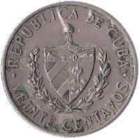 obverse of 20 Centavos - José Marti (1962 - 1968) coin with KM# 31 from Cuba. Inscription: REPUBLICA DE CUBA · VEINTE CENTAVOS ·