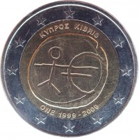 obverse of 2 Euro - 10 Years of EMU (2009) coin with KM# 89 from Cyprus. Inscription: ΚΥΠΡΟΣ KIBRIS ONE 1999-2009