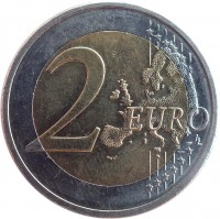 reverse of 2 Euro - 10 Years of EMU (2009) coin with KM# 89 from Cyprus. Inscription: 2 EURO LL