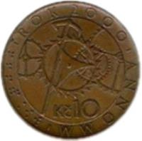 reverse of 10 Korun - Year 2000 (2000) coin with KM# 42 from Czech Republic. Inscription: ⠗⠕⠅⠼⠃⠚⠚⠚ ROK 2000 ANNO MM Kč 10