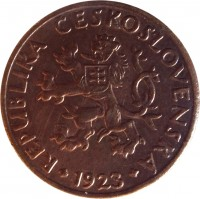 obverse of 5 Haléřů (1923 - 1938) coin with KM# 6 from Czechoslovakia. Inscription: REPUBLIKA CESKOSLOVENSKA 1923
