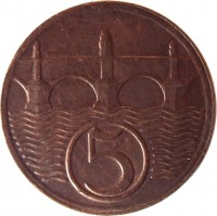 reverse of 5 Haléřů (1923 - 1938) coin with KM# 6 from Czechoslovakia. Inscription: 5