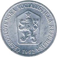 obverse of 1 Haléř (1962 - 1986) coin with KM# 51 from Czechoslovakia. Inscription: CESKOSLOVENSKA SOCIALISTICKA REPUBLIKA 1962