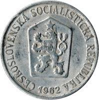 obverse of 25 Haléřů (1962 - 1964) coin with KM# 54 from Czechoslovakia. Inscription: ČESKOSLOVENSKÁ SOCIALISTICKÁ REPUBLIKA 1962