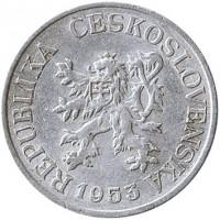 obverse of 25 Haléřů (1953 - 1954) coin with KM# 39 from Czechoslovakia. Inscription: REPUBLIKA ČESKOSLOVENSKÁ 1953