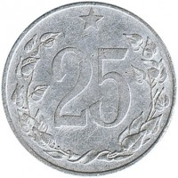 reverse of 25 Haléřů (1953 - 1954) coin with KM# 39 from Czechoslovakia. Inscription: 25