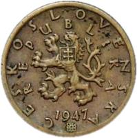 obverse of 50 Haléřů (1947 - 1950) coin with KM# 21 from Czechoslovakia. Inscription: ČESKOSLOVENSKÁ REPUBLIKA 1947