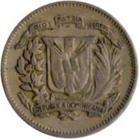 obverse of 10 Centavos (1967 - 1975) coin with KM# 19a from Dominican Republic. Inscription: DIOS PATRIA LIBERTAD REPUBLICA DOMINICANA