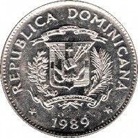 obverse of 5 Centavos (1989) coin with KM# 69 from Dominican Republic. Inscription: REPUBLICA DOMINICANA * 1989 *
