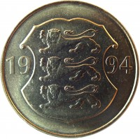 obverse of 5 Krooni - National Bank (1994) coin with KM# 30 from Estonia. Inscription: 19 94