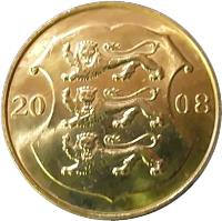 obverse of 1 Kroon - Independence (2008) coin with KM# 44 from Estonia. Inscription: 20 08