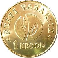 reverse of 1 Kroon - Independence (2008) coin with KM# 44 from Estonia. Inscription: EESTI VABARIIK 1 KROON
