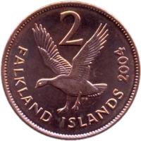 reverse of 2 Pence - Elizabeth II - 4'th Portrait (2004 - 2011) coin with KM# 131 from Falkland Islands. Inscription: 2 WG FALKLAND ISLANDS 2011