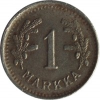 reverse of 1 Markka (1943 - 1952) coin with KM# 30b from Finland. Inscription: 1 MARKKA