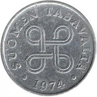 obverse of 1 Penni (1969 - 1979) coin with KM# 44a from Finland. Inscription: SUOMEN TASAVALTA 1974