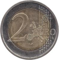 reverse of 2 Euro - 60th Anniversary - Finland in UN (2005) coin with KM# 119 from Finland. Inscription: 2 EURO LL