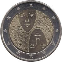 obverse of 2 Euro - Universal Suffrage (2006) coin with KM# 125 from Finland. Inscription: M 1.10.1906 M 20 FI 06