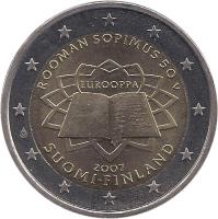 obverse of 2 Euro - Treaty of Rome (2007) coin with KM# 138 from Finland. Inscription: ROOMAN SOPIMUS 50 V EUROOPPA 2007 SUOMI · FINLAND