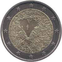 obverse of 2 Euro - Declaration of Human Rights (2008) coin with KM# 143 from Finland. Inscription: 2008 HUMAN RIGHTS FI K