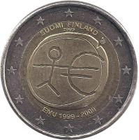 obverse of 2 Euro - 10 Years of EMU (2009) coin with KM# 144 from Finland. Inscription: SUOMI FINLAND 2009 EMU 1999 - 2009