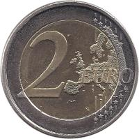 reverse of 2 Euro - 10 Years of EMU (2009) coin with KM# 144 from Finland. Inscription: 2 EURO LL