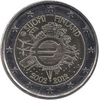 obverse of 2 Euro - 10 Years of Euro Cash (2012) coin with KM# 178 from Finland. Inscription: SUOMI FINLAND A.H. € 2002 2012