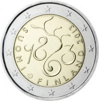 obverse of 2 Euro - Parliament (2013) coin with KM# 194 from Finland. Inscription: SUOMI FINLAND 2013 1863