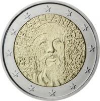 obverse of 2 Euro - 125th Anniversary of Birth of Frans Eemil Sillanpää (2013) coin with KM# 193 from Finland. Inscription: F. E. SILLANPÄÄ 2013 1888 1964 FI