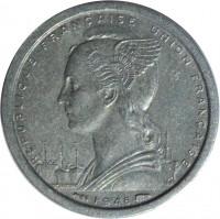 obverse of 1 Franc (1948) coin with KM# 6 from French Equatorial Africa. Inscription: REPUBLIQUE FRANÇAISE UNION FRANÇAISE L.BAZOR GB · 1948