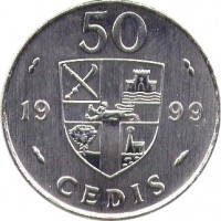reverse of 50 Cedis (1995 - 1999) coin with KM# 31a from Ghana. Inscription: 50 19 99 CEDIS