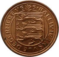 obverse of 1/2 New Penny - Elizabeth II (1971) coin with KM# 20 from Guernsey. Inscription: S'BALLIVIE INSVLE DEGERNERE VE