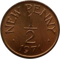 reverse of 1/2 New Penny - Elizabeth II (1971) coin with KM# 20 from Guernsey. Inscription: NEW PENNY 1 - 2 · 1971 ·