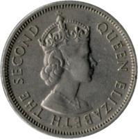 obverse of 50 Cents - Elizabeth II - 1'st Portrait (1971 - 1975) coin with KM# 34 from Hong Kong. Inscription: QUEEN ELIZABETH THE SECOND