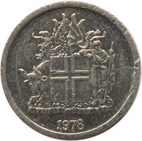 obverse of 1 Króna (1976 - 1980) coin with KM# 23 from Iceland. Inscription: 1978