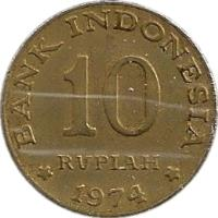 reverse of 10 Rupiah - FAO (1974) coin with KM# 38 from Indonesia. Inscription: BANK INDONESIA 10 RUPIAH 1974