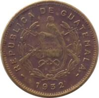 obverse of 1/2 Centavo - Without dot (1932) coin with KM# 248.1 from Guatemala. Inscription: REPUBLICA DE GUATEMALA 1932